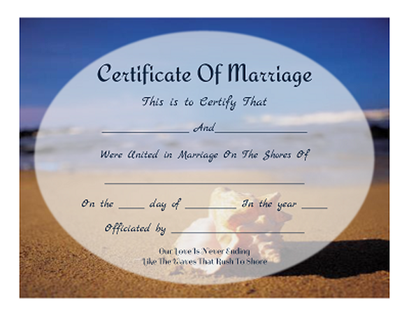 Free Keepsake Marriage Certificates Beach Themed