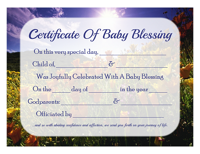 Free Baby Blessing Certificate