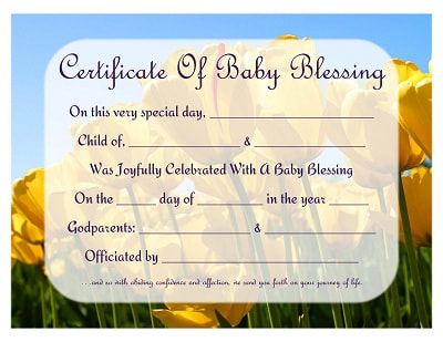 Free baby blessing certificates